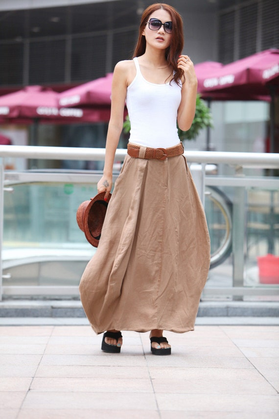Romantic Khaki Pretty Linen Bud Long Maxi Skirt by Sophiaclothing