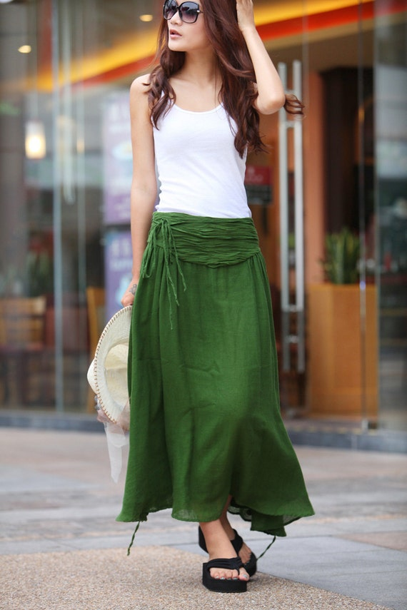 Summer Maxi skirt Long  Linen Skirt In Forest Green - NC145
