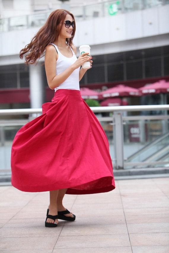Maxi Skirt Lagenlook Big Pockets Big Sweep Long Skirt in Rose Red Summer Linen Skirt - NC144
