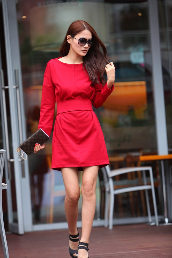 ON SALE Graceful Red Dress Long Sleeve Knee Length Dress Sping Tunic - NC345