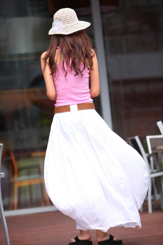 Romantic White Pretty Linen Bud Long Maxi Skirt - NC023