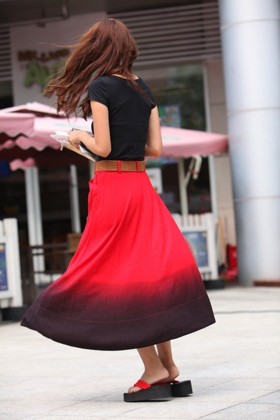ON SALE Size S Romantic Red Pretty  Linen Long Maxi Skirt - NC353