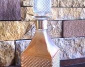 Vintage Whiskey Decanter, Diamond Cut Glass Iridescent, barware