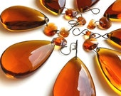 Vintage Amber Glass Chandelier Prism Drops & Extras, New Old Stock Supply or Decor