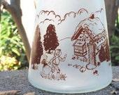 Bartlett Collins Frosted Glass Jar, Vintage Fairy Tale Hansel & Gretel Kitchen or Nursery Decor Display