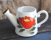Vintage Watering Can Planter Pot, Red Flower Hand Painted Window Box Kitchen Display, Japan