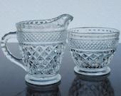 Hocking Wexford Depression Glass Creamer & Sugar Bowl, Criss Cross Pattern 1940s Vintage