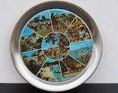 Vintage Bahamas Souvenir Tray, Retro Silver Metal Bar Decor or Serving