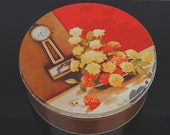 Vintage Dutch Cookie Tin, Old Clock & Red Flowers, 1950s by Thee California