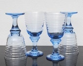 Vintage Libbey Drinking Glasses, Blue Ribbed Beehive Glass Stemware, Set of Four (4)
