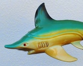 Vintage Lacquer Shark Wall Art, Unique Beach Decor