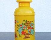 Retro Yellow Glass Perfume Bottle Milk Can, Dutch Flowers & Fruit Basket