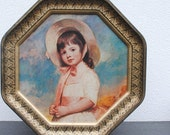 Vintage Portrait Tin, Litho Ornate Gold Frame, French Boy with Dog & English Girl in Pink Dress and Bonnet