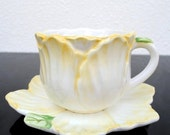 Bombay Company Yellow Flower Tea Cup & Saucer, Marked Label 1992