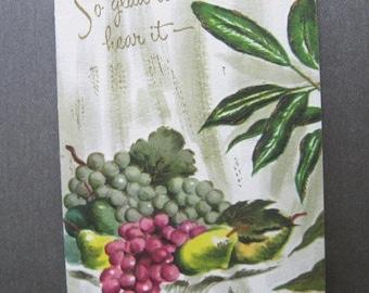 Vintage Greeting Card, Hollywood Regency, Fruit in Vase