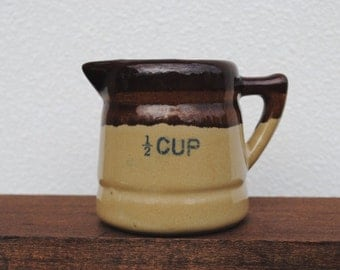 Vintage Measuring Cup, Half Cup Pitcher, Pottery Stoneware