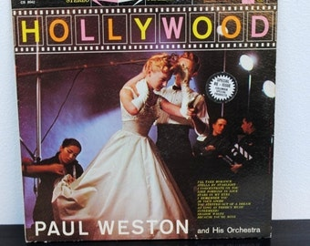 1960s Paul Weston LP Record Album, Hollywood, Vintage Decor Cover Art to Frame