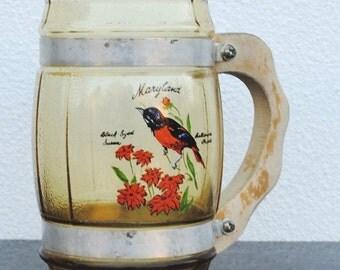 Vintags Maryland Souvenir Yellow Glass Mug, Baltimore Oriole Bird & Black Eyed Susan Red Flowers, Wood Handle