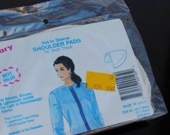 1980s Shoulder Pads, New Old Stock Clothing Fashion Vintage Advertising Original Package