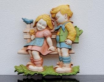 Vintage Dutch Girl & Boy Homco Wall Plaque, Nursery Decor, Girls Room