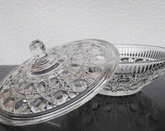 Vintage Indiana Glass Candy Box, Large Bowl Dish with Lid, Decor or Serving