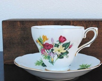 Royal Kendall Footed Tea Cup & Saucer, Vintage English Bone China, Yellow Flowers Pink Buds and Ferns
