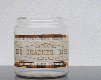 Vintage Pyrex Glass Jar Cracker Barrel, Gold Wood Grain Old Fashioned Typography