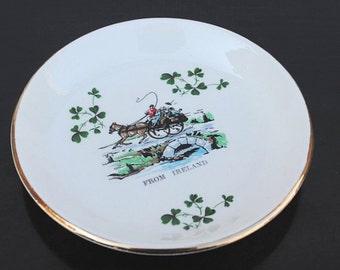 Vintage Irish Pottery Carrigaline Collector Plate, Mini Cork Ireland Souvenir, Shamrock Horse & Buggy