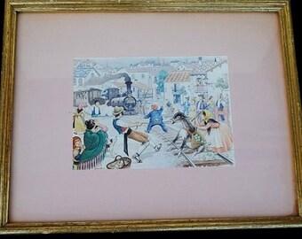 Vintage Art Drawing Framed JANDRO Signed Lithograph, Black Train Street Scene, Mid Century