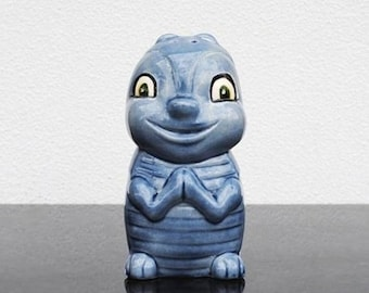 Vintage Kitsch Kitchen Cheese Shaker, Large Smiley Face Blue Bug Figurine