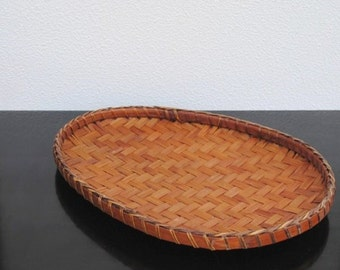 Vintage Wicker Wood Tray, Basket Egg Shaped Unique Decor Display Serving