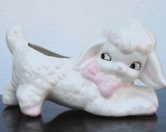 Vintage Nursery Decor White Lamb Large Figural Planter, Easter Centerpiece Display