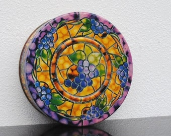 Vintage Tin Round Box, Gold Stained Glass Pattern Purple Grapes & Peach