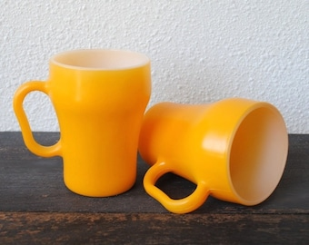 Fire King Cola Coffee Mugs, Retro Yellow Milk Glass Cups, Vintage Anchor Hocking