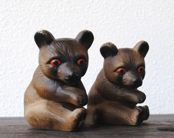 Vintage Chinese Bisque Pottery Bear Figurine Statue Pair, Red Eye Unique Collectibles