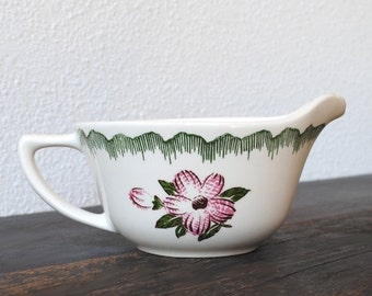 Edwin Knowles China Gravy Boat, Sauce Serving Bowl with Handle, 1950s Sweet Purple Flowers