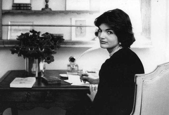 Vintage Jackie O Kennedy Portrait Card, Black & White Stationary, Unused