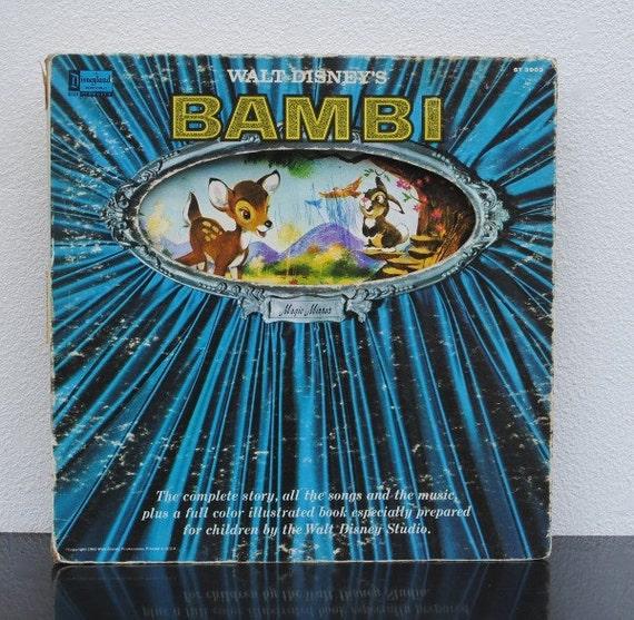 Vintage Disney Bambi Record Book, Illustrated LP Cover Art Album, Walt Disneyland 1960s