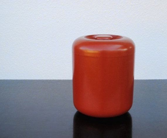 Mod Red Coffee Canister, Don Dame for Trend Pacific Vintage Loft Style Kitchen Decor or Storage