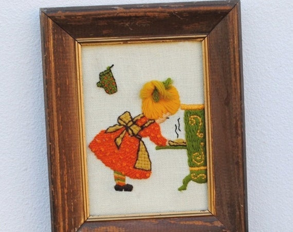 Old Kitchen Wall Decor : Vintage kitchen decor d wall art framed embroidery little