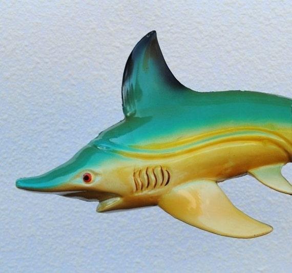 Vintage Lacquer Shark Wall Art, Unique Beach Decor