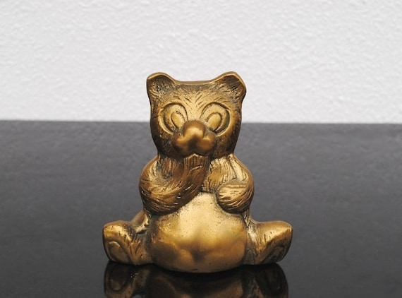 Vintage Brass Teddy Bear, Solid Heavy Paperweight Pot Belly Figurine Statue