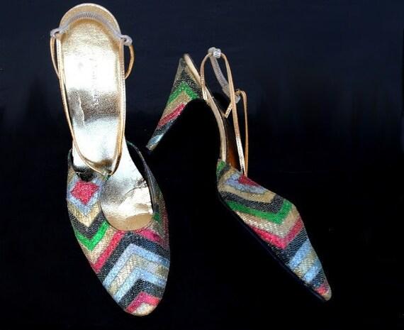 Vintage Designer Shoes Womens Strap High Heel, Disco Fashion Multi Color Chevron, Size 8 Levine