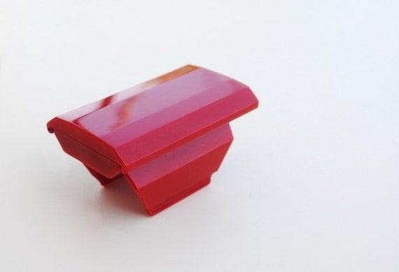 Vintage Red Lipstick Case Mirror Clip On Holder, 1990 Avon New in Box