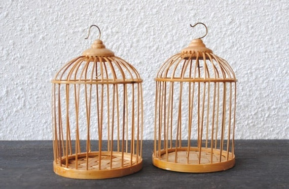 Vintage Wood Birdcages, Small Rattan Dome Bird Cage Pair