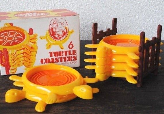 RESERVED: Six Quirky Turtle Coasters with Rack, 1970s Vintage Stackable Set New in Box