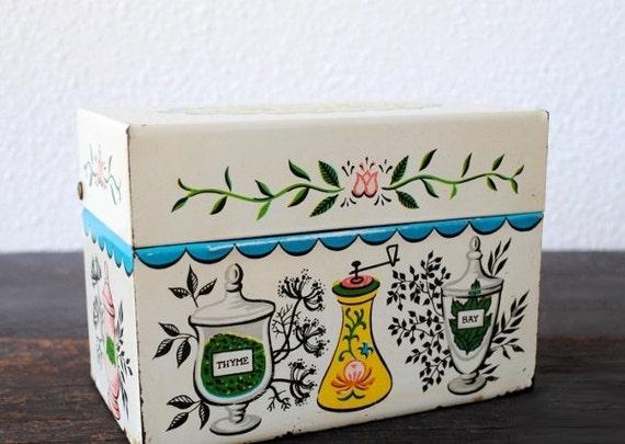 J Chen Recipe Tin Box, Retro Kitchen Print White Metal Hinged Decor Storage, Pastel Pink Blue Yellow