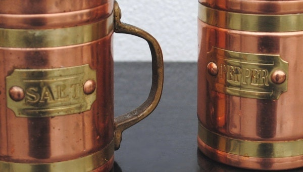 Vintage Copper And Brass Salt Amp Pepper Shakers Rustic Kitchen