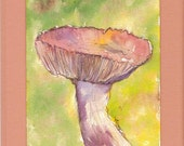 Mushroom, Beige and pink, Yellow  and Green Background,  Pink and yellow, Original Watercolor, Original Painting
