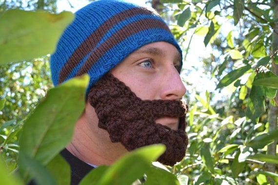 Blue Crochet Hat with Beard - Beard Beanie for Men - Striped Hand Knit Mens Hat - Made of 100% Merino Wool for Adult Guys -SALE